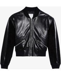 Sandro Cropped Leather Jacket - Black