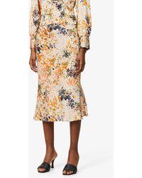 Never Fully Dressed Bloom Slip Satin-crepe Midi Skirt - Multicolour
