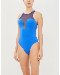 Stella McCartney Mesh-trimmed Swimsuit - Blue