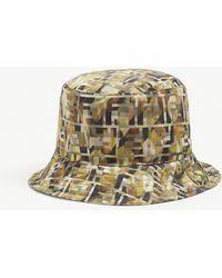 Fendi Ff Camouflage-print Bucket Hat - Green