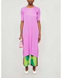 Pleats Please Issey Miyake Pleated Woven Midi Dress - Purple