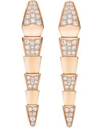 BVLGARI - Serpenti 18kt Pink-gold Earrings With Full Pavé Diamonds - Lyst