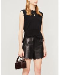 RED Valentino Ladies Nero Black Scallop Trimmed High Waisted Leather Shorts