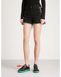 Marcelo Burlon Kappa High-rise Denim Shorts - Black