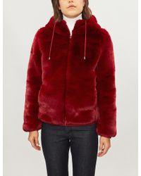 Maje - Hooded Faux-fur Jacket - Lyst