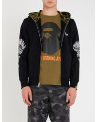 A Bathing Ape - Tiger-embroidered Cotton-jersey Hoody - Lyst