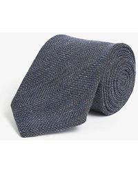 Eton of Sweden Herringbone Knitted Linen-wool Tie - Blue