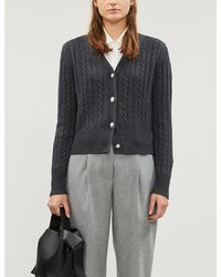 Sandro Cable-knit Wool-blend Cardigan - Gray