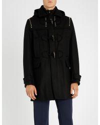 Valentino - Rockstud Studded Wool Duffel Coat - Lyst
