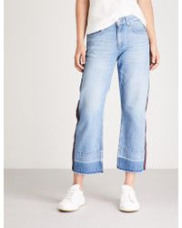 Claudie Pierlot - Player Side-stripe Flared High-rise Jeans - Lyst