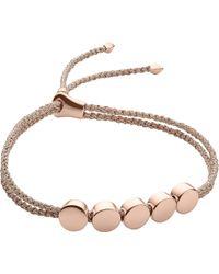 Monica Vinader - Linear Bead 18ct Rose-gold Plated Friendship Bracelet - Lyst