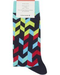 Björn Borg - Mens Blue Ribbed Comfortable Cotton-blend Ankle Socks - Lyst