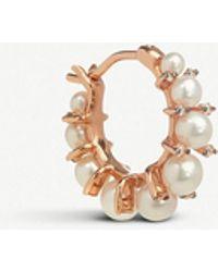 Annoushka - Diamonds & Pearls 18ct Rose-gold Single Hoop Earring - Lyst
