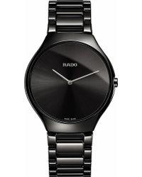 Rado Mens Black R27741182 True Thinline Ceramic Watch