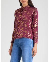 M.i.h Jeans M.i.h Jeans X Bay Garnett Golborne Road Vintage Cannabis-print Silk-jacquard Shirt - Red