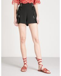 The Kooples - High-waisted Crepe Shorts - Lyst