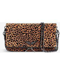 Zadig & Voltaire Rock Leopard-print Suede Cross-body Bag - Brown