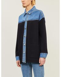 Sandro Wenaelle Two-tone Mixed Media Denim Shirt - Blue
