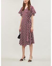 Kitri - Eliana Polka Dot-print Crepe Wrap Dress - Lyst
