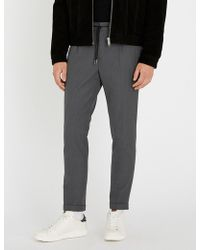 The Kooples - Slim-fit Straight Woven Cropped Trousers - Lyst