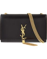 Saint Laurent Women's Black Monogram Medium Leather Shoulder Bag