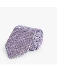 Eton of Sweden Medallion-print Silk Tie - Purple