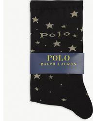 Polo Ralph Lauren Branded Star Print Cotton-blend Socks - Black