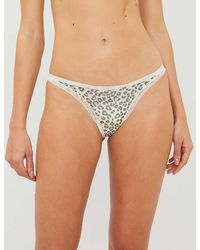 Calvin Klein Bottoms Up Animal-print Stretch-satin Thong - Multicolour