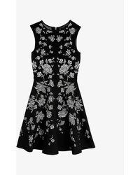 Ted Baker Rhubarb Floral-print Woven Midi Dress - Black