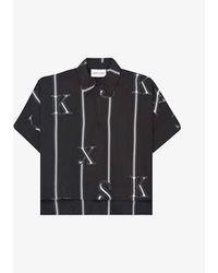 The Kooples Sport Womens Bla01 Logo-print Crepe Shirt M - Black