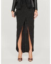 Balmain Bead-embellished High-waisted Stretch-jersey Skirt - Black
