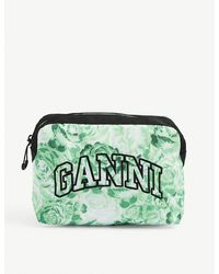 Ganni Brand-embroidered Floral-print Recycled-polyester Makeup Pouch - Green