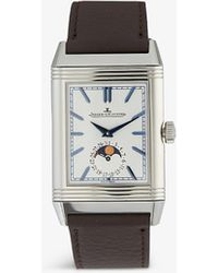 Jaeger-lecoultre Q3958420 Reverso Stainless Steel And Leather Watch - Blue