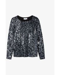The White Company Womens Charcoal Sequinned Stretch-jersey Top 8 - Black