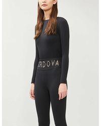CORDOVA Logo-print Stretch-woven Top - Black