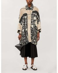 By Walid Jasemine Floral-embroidered Silk Coat - Multicolor