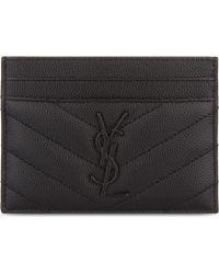 Saint Laurent Monogram Leather Card Holder - Black