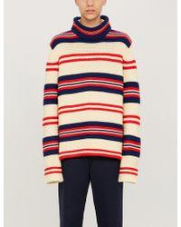 Gucci Rear Appliqué Striped Jumper - Red