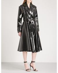 CALVIN KLEIN 205W39NYC - Detachable-sleeve Faux-leather Trench Coat - Lyst