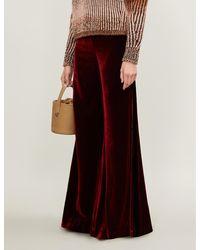 SERENA BUTE LONDON Wide-leg Velvet Pants - Red