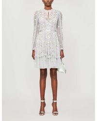 Needle & Thread - Wallflower Floral-embroidered Tulle Mini Dress - Lyst