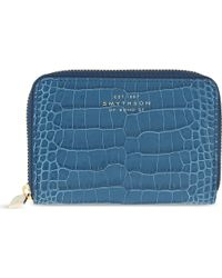 Smythson Mara Leather Purse - Blue