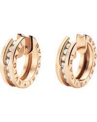 BVLGARI - B.zero1 18kt Pink-gold And Diamond Small Hoop Earrings - Lyst
