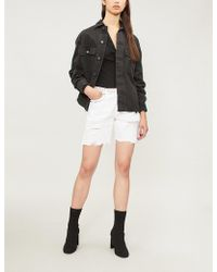The Kooples - Washed Denim Shorts With Embroide - Lyst