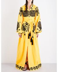 Yuliya Magdych King Of Beasts Embroidered Linen Maxi Dress - Yellow
