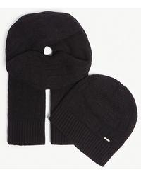 HUGO - Logo Rib-knit Wool Scarf And Beanie Set - Lyst