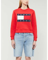 Tommy Hilfiger Tommy Flag Cotton-jersey Sweater - Red