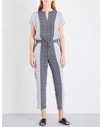 St. John - Geometric-print Stretch-silk Jumpsuit - Lyst