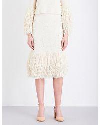 Rosetta Getty - Fringed Silk-crochet Skirt - Lyst