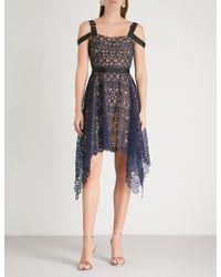 Self-Portrait - Asymmetric Circle Floral Lace Midi Dress - Lyst